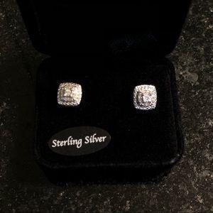 Diamond Cluster Sterling Silver Earrings